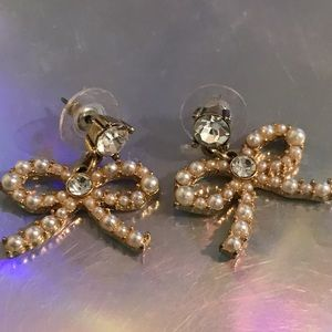 Betsey Johnson Jewelry - Crystal pearl bow earrings Betsey Johnson vintage